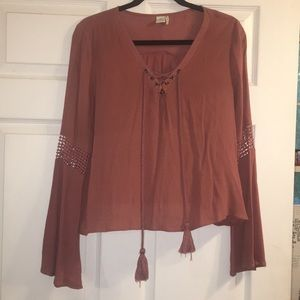 Paper Crane Pink Bell Sleeve Lace Up Blouse Top